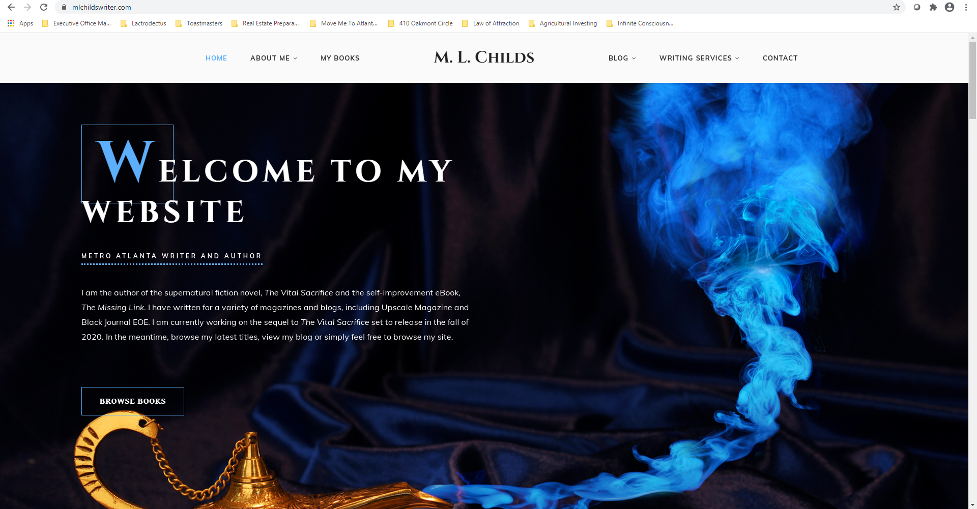 Screenshot of website mlchildswriter.com
