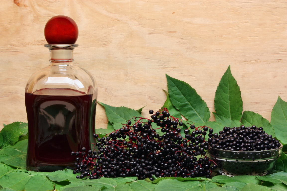 Image of Elderberries and juice