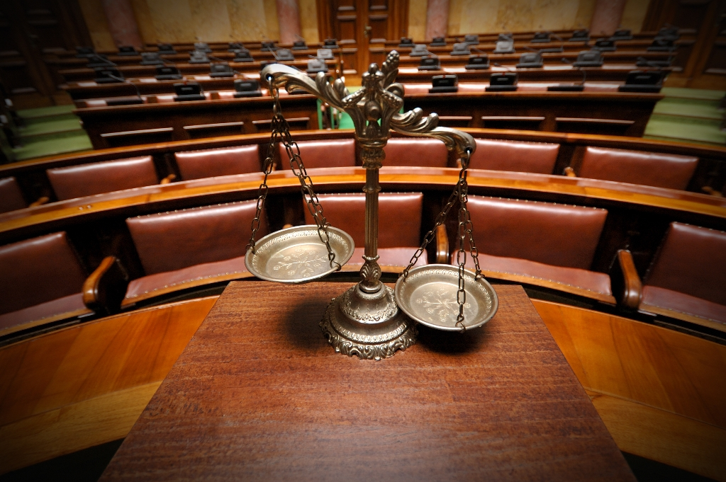 Image of the inside of a courtroom