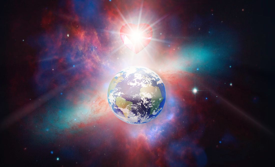 Image of love energy on earth
