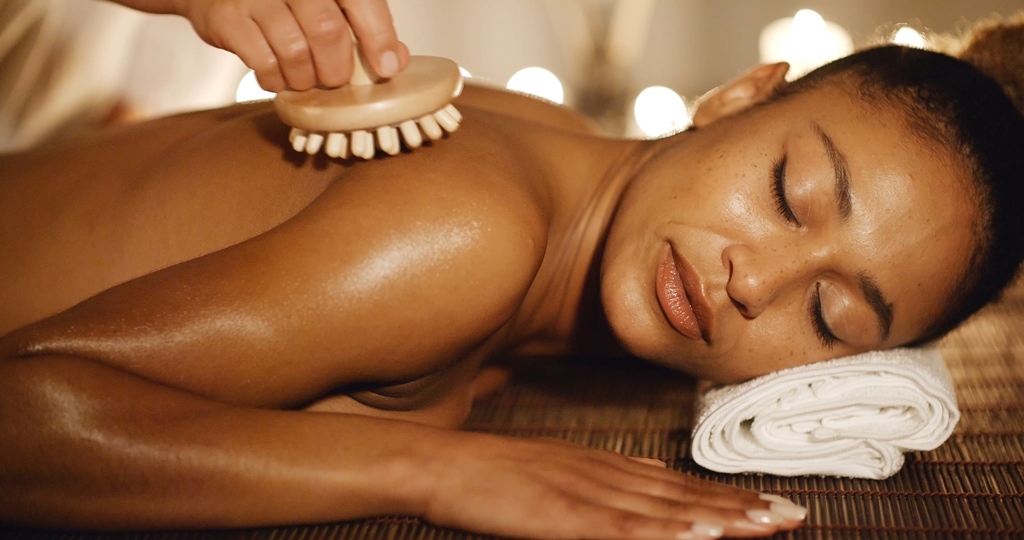 A woman at a spa.