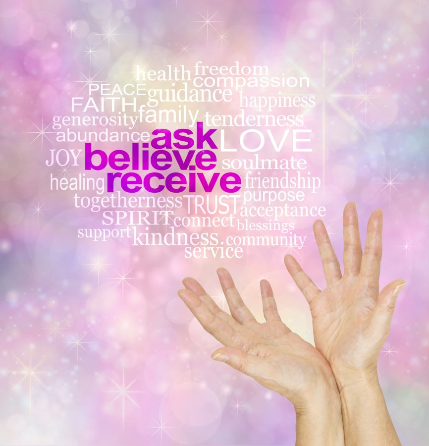 Image of the words ask, believe, and receive