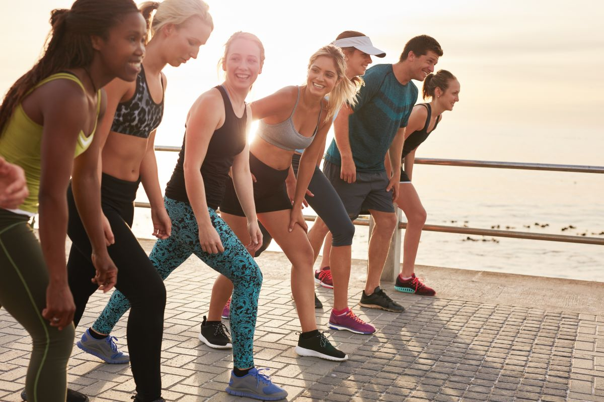 people exhibiting self-improvement by jogging