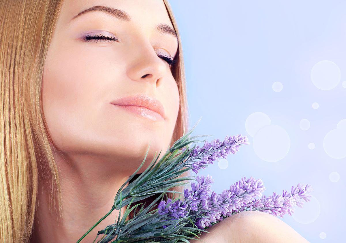 Lady indulging in aromatherapy